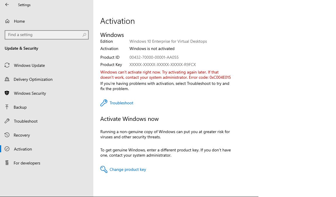 Résoudre le problème d'activation avec le code d'erreur 0xC004E015 sur Windows 10 Entreprise pour les bureaux virtuels